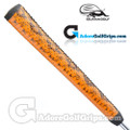 Iguana Golf Snake Skin Leather Pistol Putter Grip (Side Detail) - Orange / Black