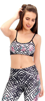 Rola Moca Lattice Rose Slim Strap Bra