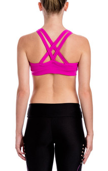 CajuBrasil Dark pink Cross Back Padded Bra Top