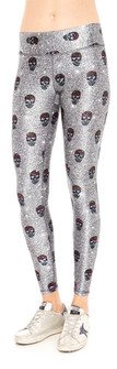 Glitter Skulls Tall Band Leggings By Terez