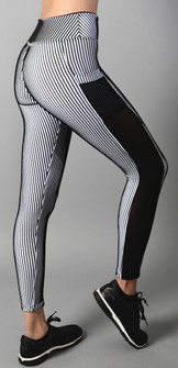 Equilibrium Black & White Sport Stripe Legging