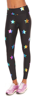 Terez Rainbow Stars Foil Tall Band Leggings