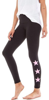 Strut-This Black Pink Star Teagan Legging