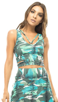 Vestem Green Camo Animal Print Top