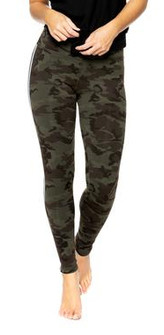 Strut-This Sage Ankle Green Camo Silver Elastic Legging