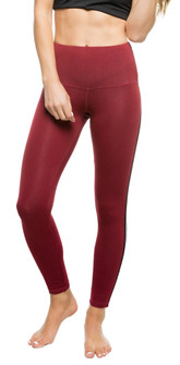 Strut-This Sage Ankle Red Heather Silver Elastic Legging