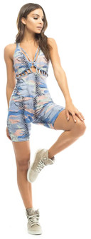 Vestem Blue Camo Animal Print Short Bodysuit