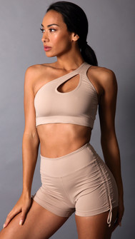 Equilibrium Nude Teardrop One Shoulder Top