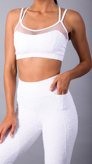 Equilibrium Textured White Jaquard Top