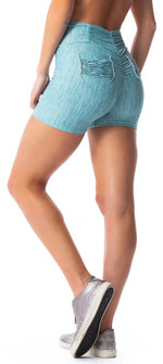 Vestem Wispy Green Summer Scrunch Booty Pocket Short