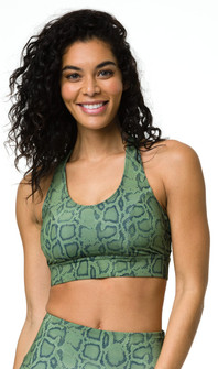 Onzie Olive Cobra Print Warrior Bra Top