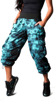 Equilibrium Teal Tie Dye Utility Cargo Pant