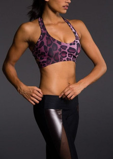 Onzie Purple Cheetah Wrap Bra Top