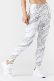 Glyder Apparel High Power Legging 2 In White Marble Print
