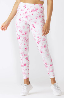 Glyder Apparel High Power Legging 2 - Pink Watercolor Roses Print