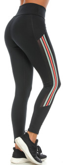 Protokolo Susan Stripe Black-Green-Orange Legging