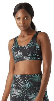 Glyder Apparel Splendid Bra In Black-Evergreen Palm Print
