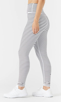 Glyder Apparel High Power Legging  2 - White - Black Stripes
