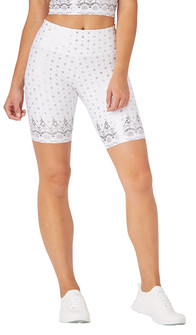 Glyder Apparel High Power Bike Short In White Gloss Wildflower Lace Print
