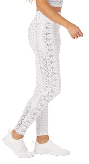 Glyder Apparel Sultry Legging In White Gloss Wildflower Lace Print