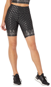 Glyder Apparel High Power Bike Short In Black Gloss Wildflower Lace Print