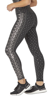 Glyder Apparel Sultry Legging In Black Gloss Wildflower Lace Print