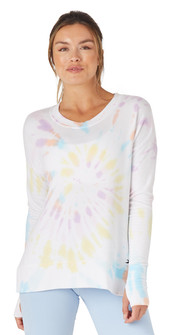Glyder Apparel Lounge Long Sleeve In Rainbow Tie Dye