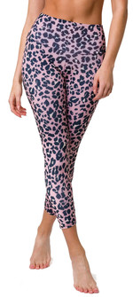 Onzie High Rise Rose Leopard Print Legging
