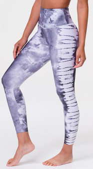 Onzie Light Gray Tie Dye Print High Waistband Midi Legging