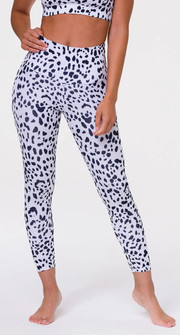Onzie High Rise White Cheetah Print Legging