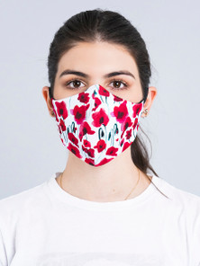 Protokolo Red Flowers Reversible Face Mask