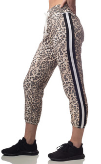 Emily Hsu Designs Leopard Striped Cropped Jogger