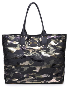 Sol and Selene It Girl Reversible Tote in Green Metallic Camo