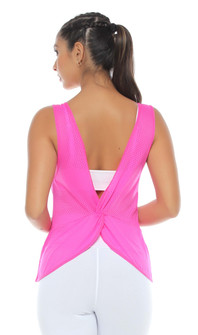 Protokolo Pearl Tank Top In Neon Pink