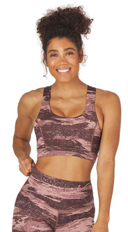 Glyder Apparel Full Force Bra in Cocoa Distressed Camo