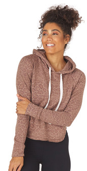 Glyder Apparel Rocky Hoodie In Cocoa Leopard Print