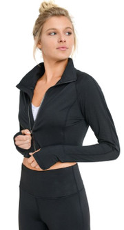 Mono B Zip-Up Crop Active Jacket In Black