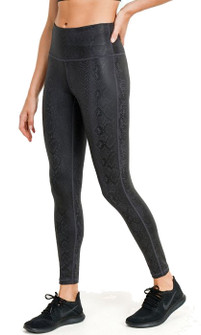 Mono B Black Mamba Snake Foil Print Highwaist Leggings