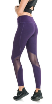 Mono B Sleek Slanted Mesh Panel Full Leggings In Eggplant