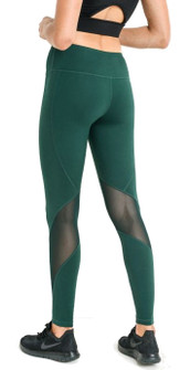 Mono B Sleek Slanted Mesh Panel Full Leggings In Hunter Green
