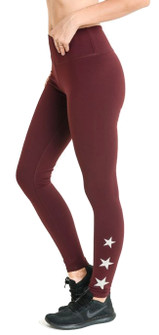 Mono B Triple Stars Leggings In Burgundy