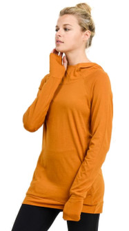Mono B Sleek Hoodie Top In Ambergold