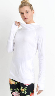 Mono B Sleek Hoodie Top In White