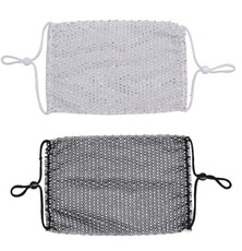 Sol and Selene Rhinestone Face Mask - Black & Silver - 2 Piece Pack