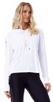 Vestem Long Sleeve Grid Pullover Hoodie in White