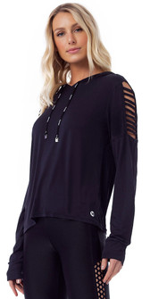 Vestem Long Sleeve Grid Pullover Hoodie in Black