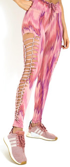 Equilibrium Lazer Cut Burnt Coral Tie-Dye Dream Legging