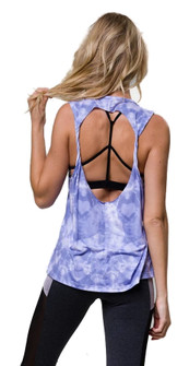 Onzie Hot Yoga Twist Back Top In Blue Ocean