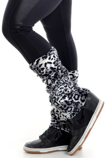 Vestem Black and White and Blue Cheetah Leg Warmers