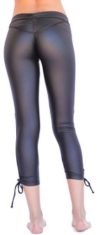 Mia Brazilia Black Faux Leather Cinch Highlight Legging